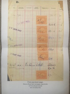 Mortgage payments schedule for Walsall property 1947